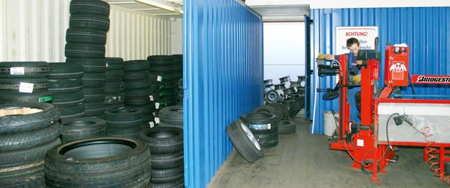 Storage container as tyre store
